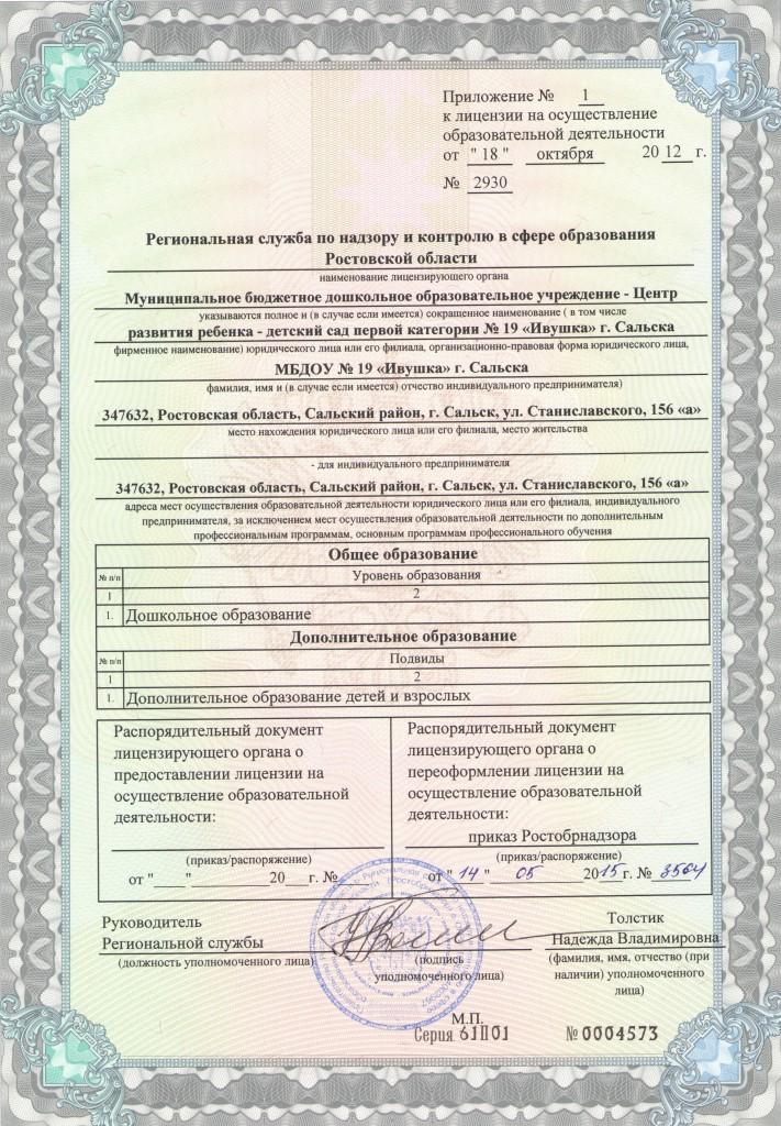Приложение № 1 к лицензии на осуществление образовательной де 001